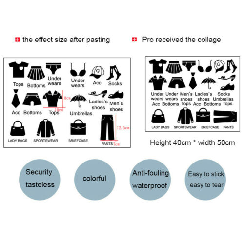 Creative Cabinet Wardrobe//Wall Sticker Shoes Clothes Classify Labels Removable