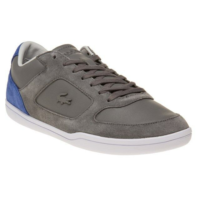 New Mens Lacoste Grey Court-Minimal Leather Trainers Mono Lace Up