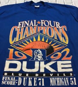 90s-VTG-nos-DUKE-BLUE-DEVILS-1992-NATIONAL-CHAMPIONS-T-Shirt-Grant-Hill-XXL