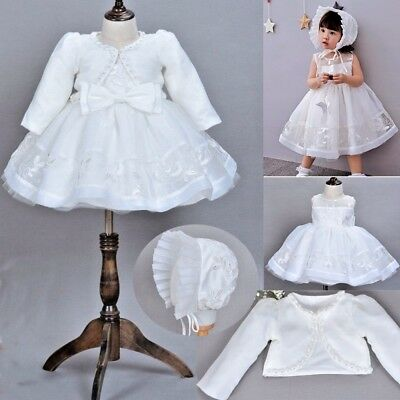 Infant Baptism Dress Corded Lace Baby Girl Christening  Blessing  Bow Dresses