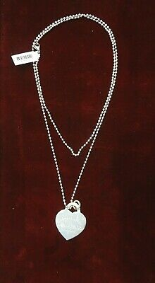Pre Owned Tiffany Co Silver 925 Bead Chain Jumbo Heart Tag Pendant Necklace Ebay