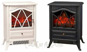 Details About Wood Burner Log Effect Electric Fire Free Standing Stove White Cream Black