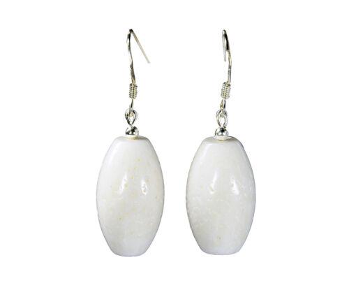 Wunderschöne Ohrringe aus echter Koralle in Fassform weiß 925er Silber