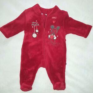 DISNEY-pyjama-polaire-avec-chaussette-Noel-bebe-MICKEY-3-9-12-ou-18-mois