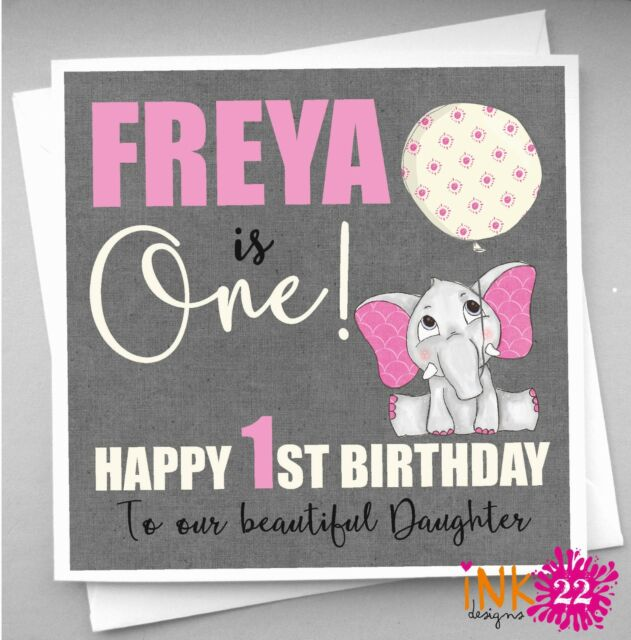 Personalised Elephant Birthday Card First 1st Daughter Granddaughter