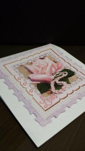 Wedding or more Scalloped Card Topper// 12 cm Handmade Decoupaged Birthday