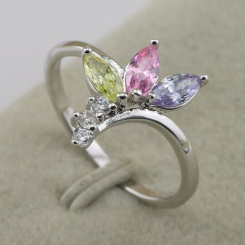 Size 9.5 Lovely Multi-Color CZ Fashion Jewelry Gift Gold Filled Ring rj1659