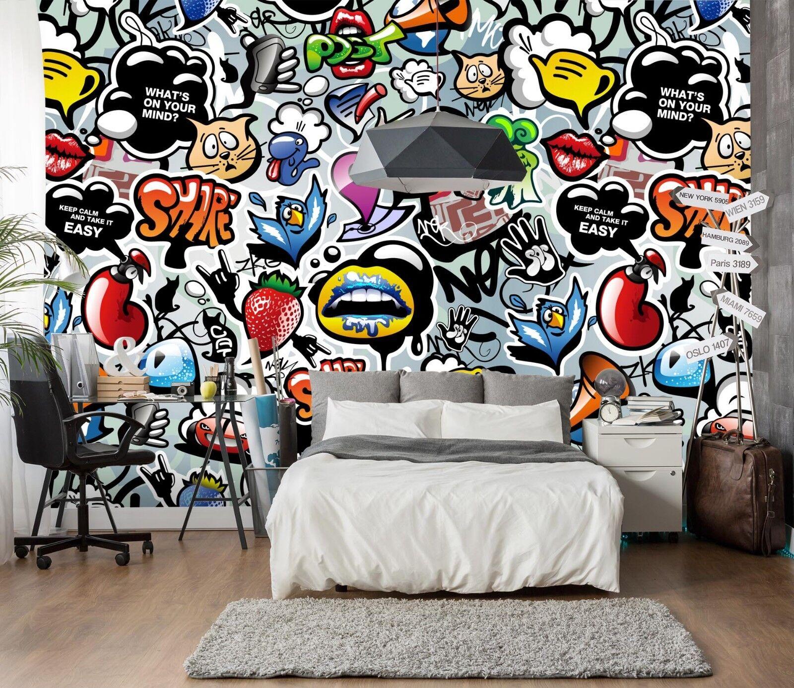 3D Früchte Graffiti 7 Tapete Wandgemälde Tapete Tapeten Bild Familie DE Sidney  | Wonderful  | Praktisch Und Wirtschaftlich  | Schenken Sie Ihrem Kind eine glückliche Kindheit