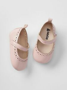 GAP Baby Girls Size 6-12 Months Pink Mary Jane Bunny Ballet Flats Shoes