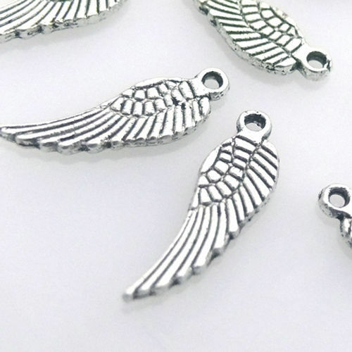 10x Metallanhänger Flügel silberfarben Metallflügel 1,7cm Bastelanhänger
