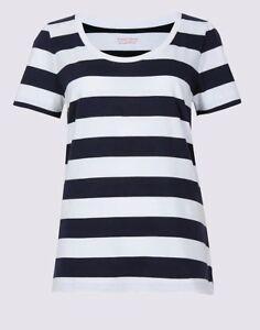 Ladies-Marks-amp-Spencer-M-amp-S-Blue-White-Stripe-Supima-Cotton-Top-T-Shirt-8-22-NEW