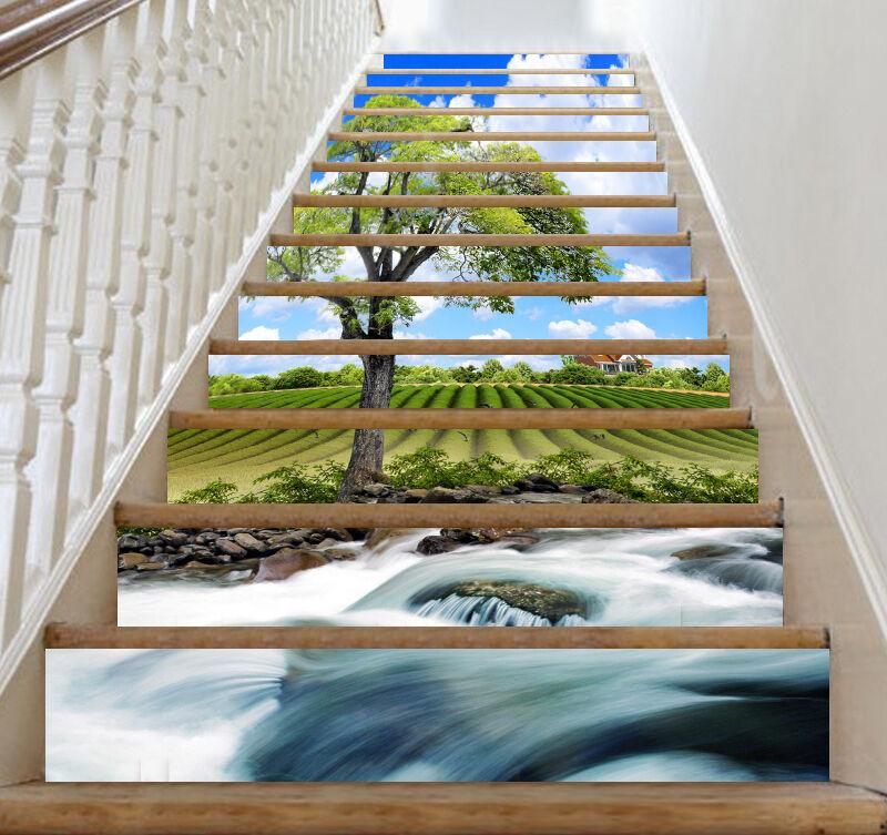 3D Strom Feld 318 Stair Risers Dekoration Fototapete Vinyl Aufkleber Tapete DE