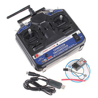 2.4GHz FS-CT6B 6CH Radio Model RC Transmitter Receiver Black Blue
