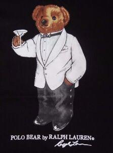 New Polo Ralph Lauren Bear Logo Martini Tuxedo Black T Tee Shirt