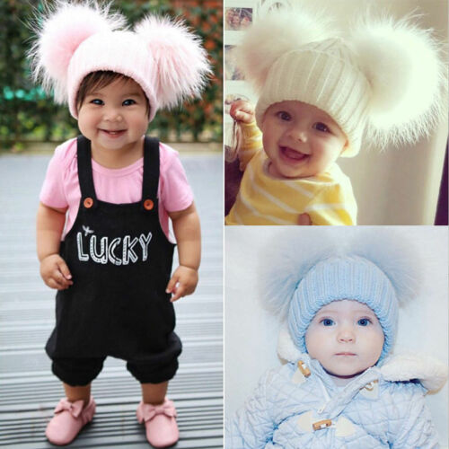 Cute Kid Fur Double Pom Cap Winter Warm Knitted Wool Cap Bobble Beanie Hat Pink