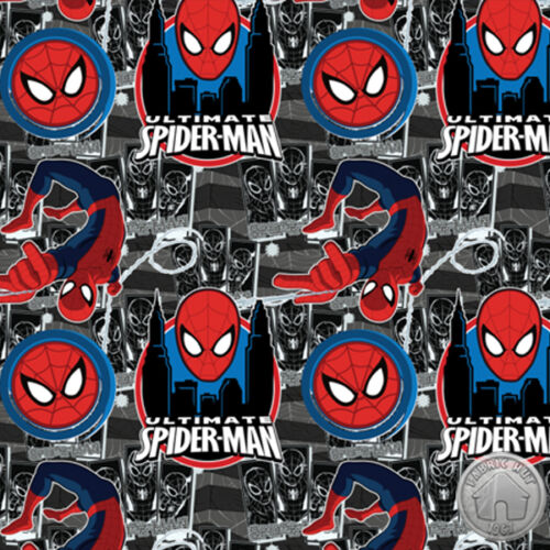 Marvel Ultimate Spider-Man II Black Super Hero Cotton Fabric by the Yard
