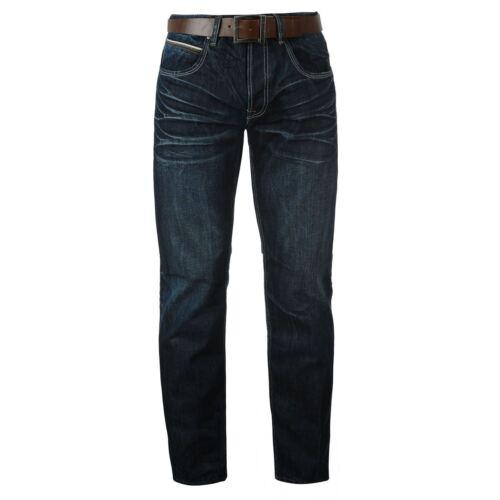Droit Cuir Foncé Lavage Ceinture 2 Casual En 34l Hommes Jeans B532 Firetrap Denim n4IaUq