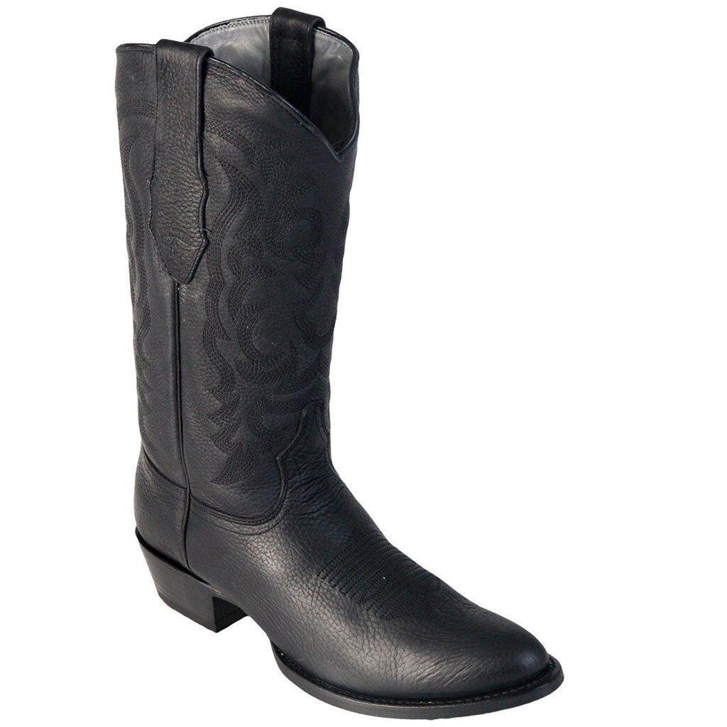 Para hombres Cuero Genuino los Altos Negro espeluznante botas de vaquero occidental D Punta rojoonda