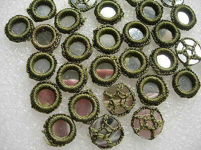 CR26-25 Gypsy Crochet Shisha Mirrors Applique Olive Green Sew/Embellishment 30pc