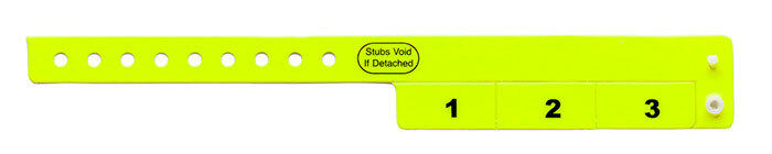 500 Neongelb Vinyl Armbänder bar Register 3-STUB