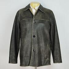 BUGATCHI UOMO Genuine Leather Distressed Winter Jacket Coat Sz M