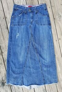 LONG, MODEST DENIM SKIRT MADE FROM A PAIR OF JEANS ... |Western Long Denim Skirts Modest