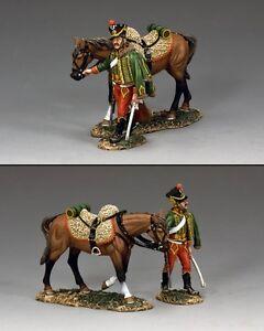 Roi et pays français hussard marchant avec cheval Na301