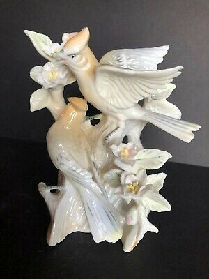 3v 6189 Looks New Practical Vintage Waxwing Fine Porcelain Birds & Flowers Figurine Removing Obstruction