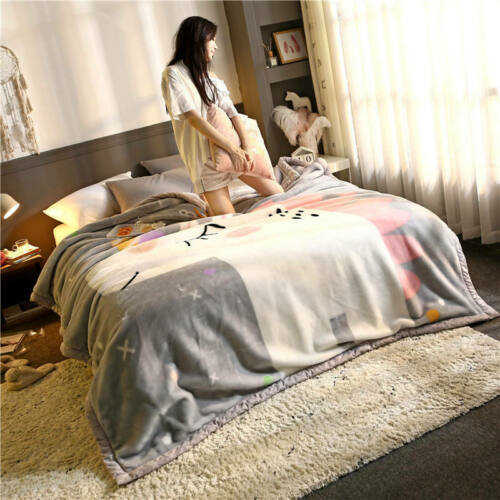 Details about  /Printed Cartoon Blanket Double Layer Warmth Throw Children Adult Thick Blanket