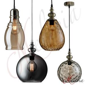 Pendelleuchte-Haengelampe-Retro-Bernstein-Braun-Schwarz-Glas-Amber-Deckenlampe