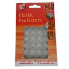 Plastic Protectors 24 x 10mm Clear Furniture Feet Pads Legs Doors Drawers NEW