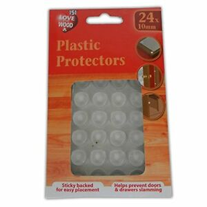 Plastic-Protectors-24-x-10mm-Clear-Furniture-Feet-Pads-Legs-Doors-Drawers-NEW