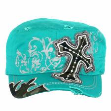 Cross Camo Patt Women/'s Military Cadet Cap Hat Cotton Crystal Studded Turquoise