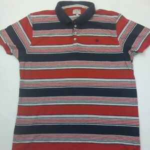 NEXT-homme-bleu-marine-rouge-a-rayures-Casual-Polo-Taille-L-100-coton