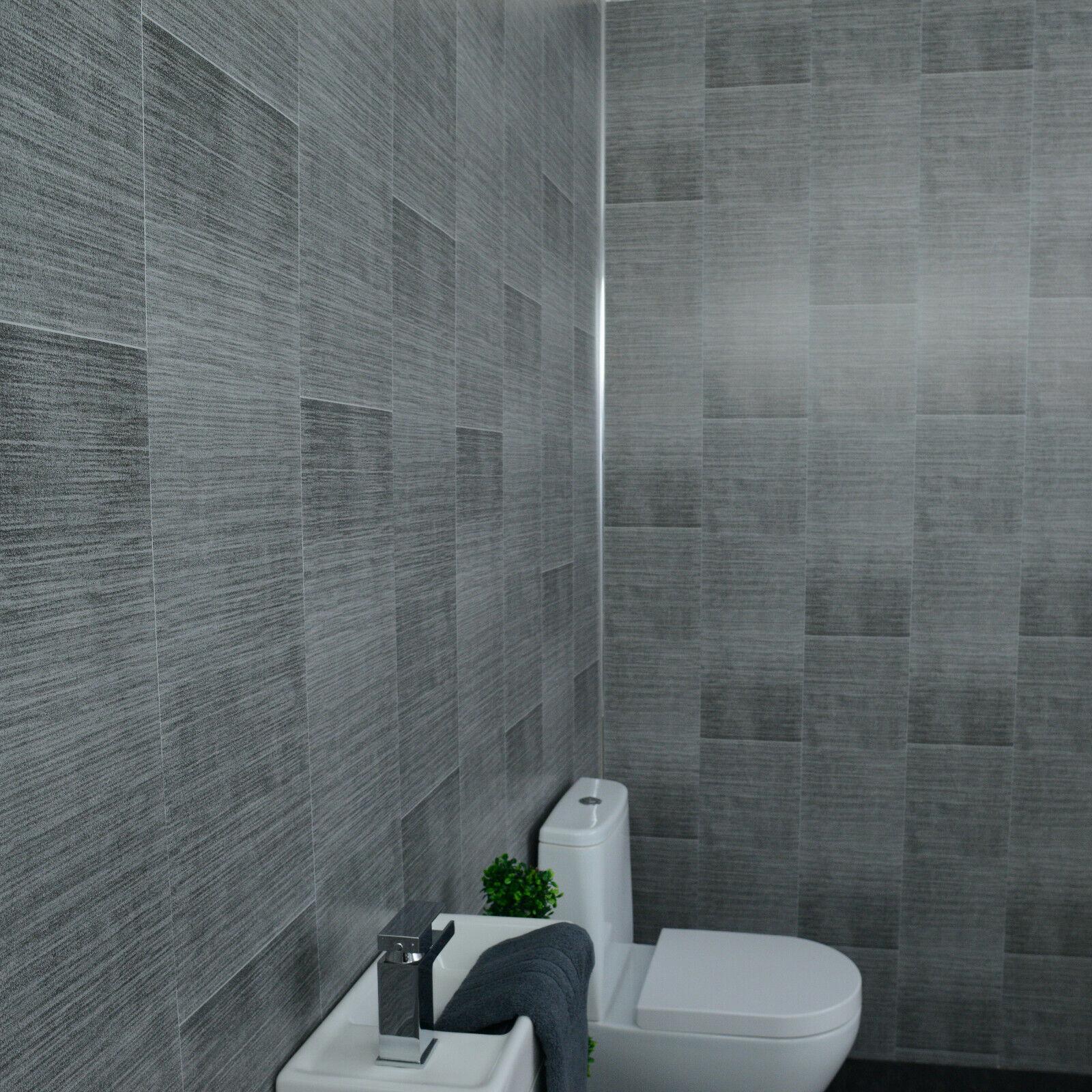 grey panels tile effect cladding sparkle bathroom shower