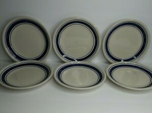 Tienshan-Stoneware-Country-Crock-Set-of-6-Salad-Plates-7-3-4-034-with-Blue-Bands