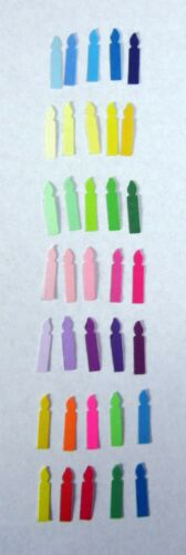 """TINY BIRTHDAY CANDLE Set Lot 120 pieces 5 colors Punch Cutouts punch-outs 5//8/"""""""