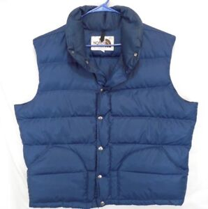 514511a2c Vtg North Face Blue Down Vest Brown Label Mens XL Nuptse | eBay