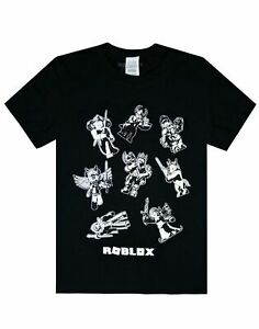 Roblox-Characters-In-Space-Kid-039-s-Black-T-Shirt-Short-Sleeve-Gamer-039-s-Tee