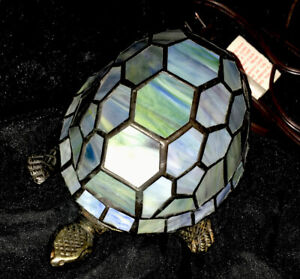 Tiffany Style Blue Green Stained Glass Turtle Accent Lamp Night Light Euc Ebay