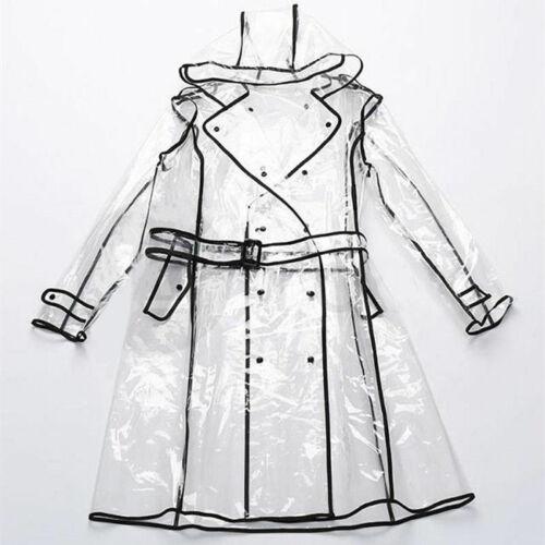 Women Transparent Raincoat Waterproof Jacket Clear Rain Hooded Poncho Outwear