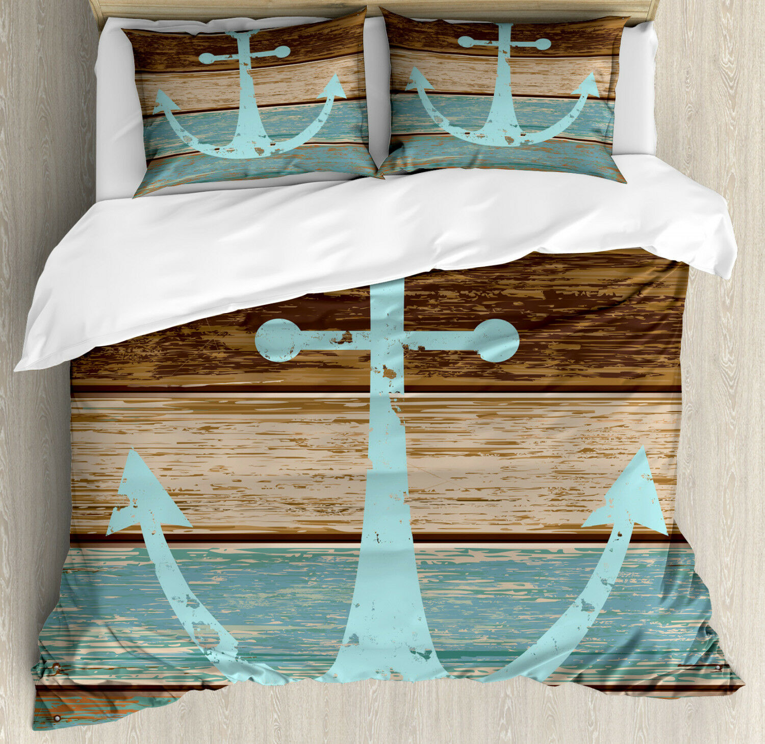 Rustic Duvet Cover Set with Pillow Shams Anchor on Wood Planks Print