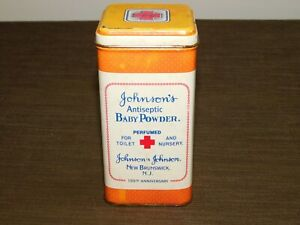 VINTAGE-KITCHEN-5-1-4-034-HIGH-JOHNSON-039-S-BABY-POWDER-100th-ANNIV-TIN-CAN-EMPTY
