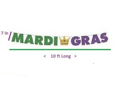 Mardi Gras Holiday Party Paper Jointed Glitter Letter Banner
