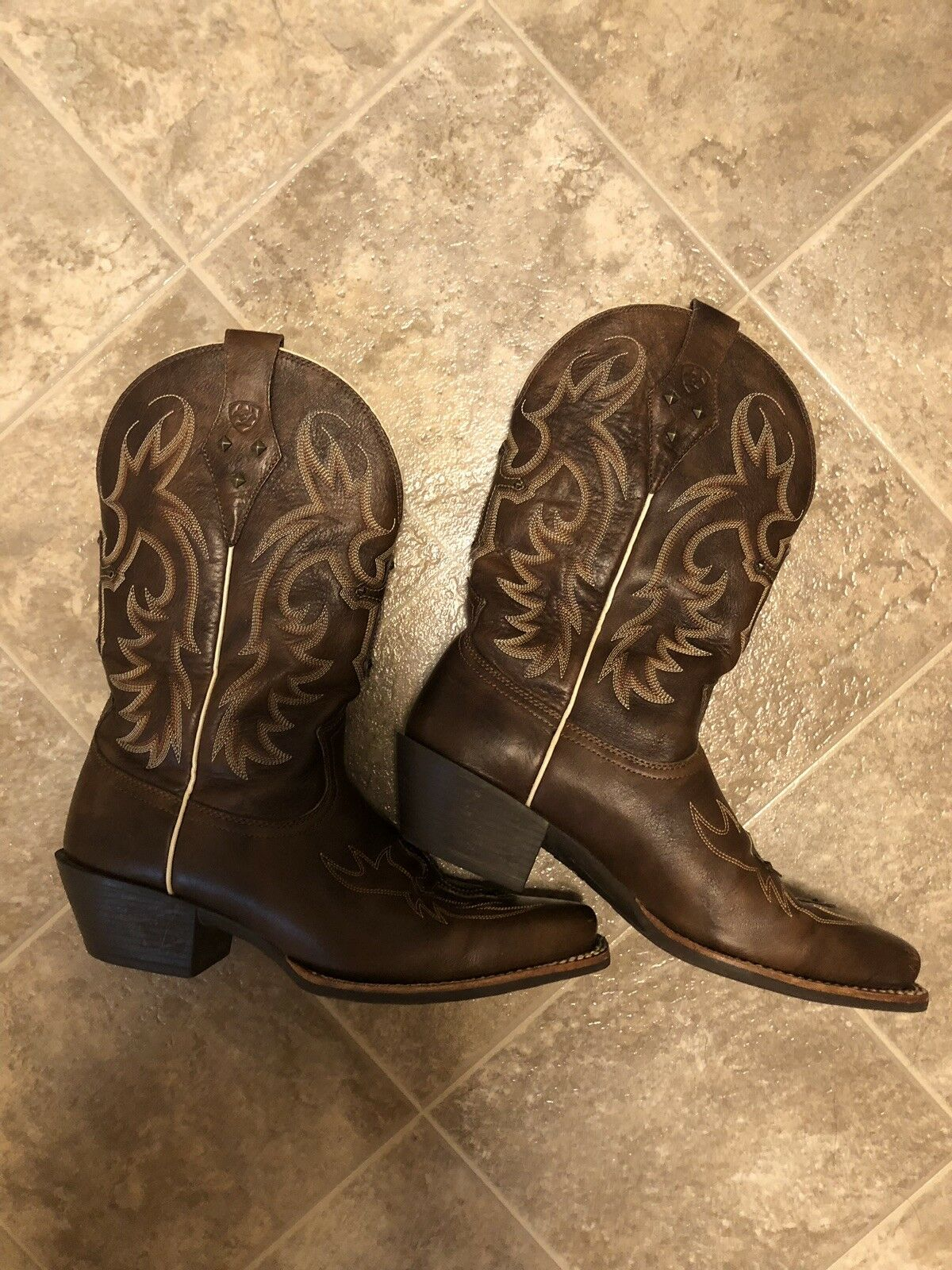 Ariat Womens Brown Leather Cowboy Boots Size 10 B