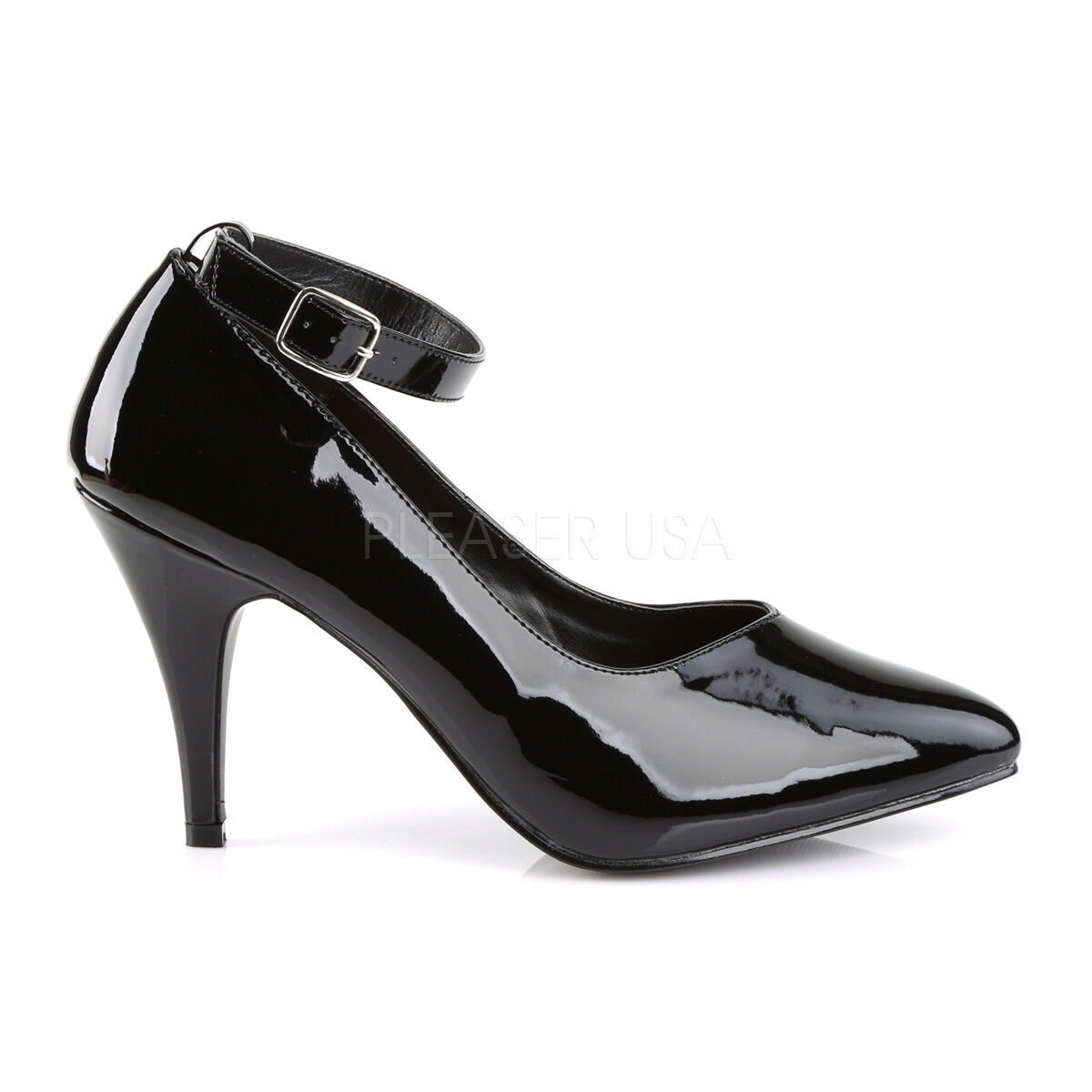 PLEASER CLASSIC PINK LABEL DREAM-431 BLACK PATENT WIDE FIT CLASSIC PLEASER COURT Schuhe 6be842