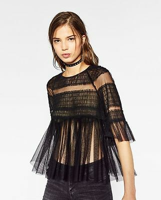 NWT ZARA BLACK TULLE FRILLED SLEEVE TOP/BLOUSE/SHIRT M/28 ONLY ONE BLOGGERS