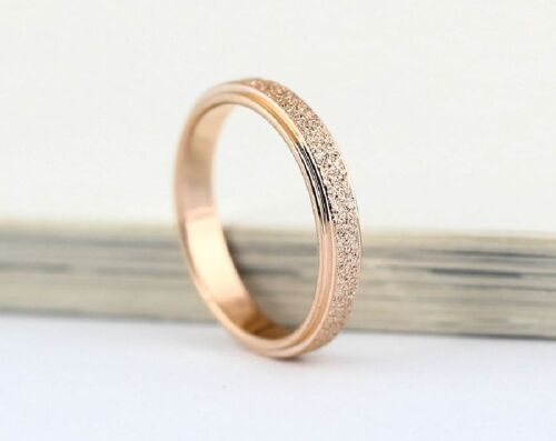 Unisex 18KGP Frosted Rose Gold Stainless Steel 316L Ring and Band