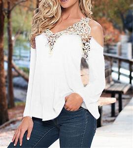 Sexy-Mujer-Sin-Hombro-Encaje-Ganchillo-Chiffon-Sueter-Camiseta-Verano-Blusa