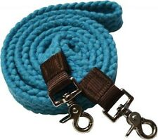 WESTERN HORSE TEAL COTTON ROPING REINS FOR TRAIL OR RODEO, BARREL RACING